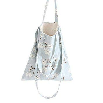 Women's Narcissus Canvas Convertible Tote Crossbody Bag Blue (Open)
