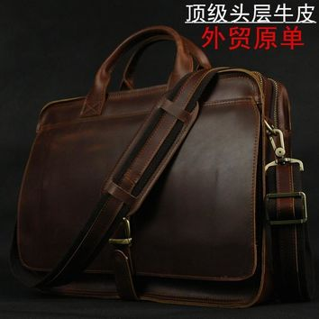 "MUNUKEE Luxury Genuine Leather Men shoulder bag Leather men messenger bag male Crossbody bag tote Handbag Laptop Bag 14"" Brown"