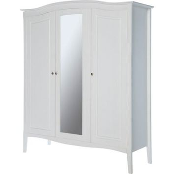 Heart of House Avignon 3 Door Mirrored Wardrobe - White. | Homebase