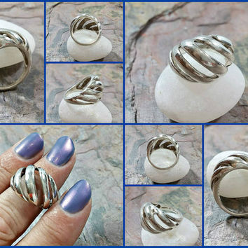 Vintage Kabana Sterling Ring Hand Crafted Southwest Albuquerque New Mexico Nice Quality Piece Big Bold Contemporary Modernist Style Signed