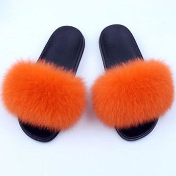 Orange Fox Fur Slides