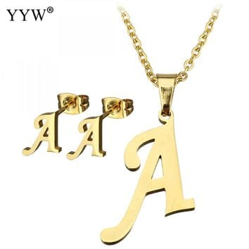 26 Letters Stainless Steel Necklaces Pendants Alfabet Initial Necklace Earring Choker Necklace Jewelry Set Women's Gift