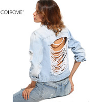 COLROVE Women's Long Sleeve Casual Coat  Blue Buttons Ripped Back Lapel Pockets Single Breasted Denim Jacket