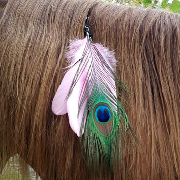 Peacock and Pink Feathers Equine Mane or Tail Dangler Ornament for Horses - Pink Feather Hair Decoration