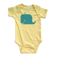 Whale Bodysuit - Teal Design on Yellow or White Short Sleeve Baby Bodysuit - 0457-4400
