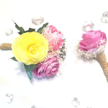 Peony boutonniere and corsage, Pink, orange and yellow filter paper Groom boutonniere, Prom corsage, Prom boutonniere, Fake Flower Corsages