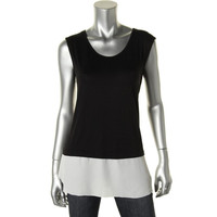 Bar III Womens Jersey Contrast Trim Tank Top