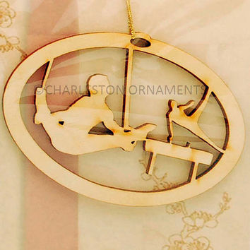 Unique Wooden Gymnast Ropes Engraved Ornament, gymnastics team gift, gymnastics ornament ~ FREE PERSONALIZATION