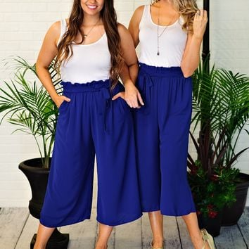 * After Hours Cropped Palazzo Pants : Royal Blue