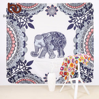 BeddingOutlet Mandala Tapestry Indian Elephant Boho Decorative Wall Tapestries Floral Wall Carpet 148x148cm Picnic Sheet