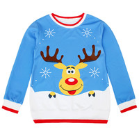 Blue Long Sleeve Snowflake Deer Print Sweatshirt - Sheinside.com