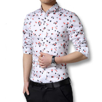 Camisa Masculina Chemise Homme Men Casual Slim Fit Large Size Long Sleeved Turn Down Collar Shirts Hombre SM6