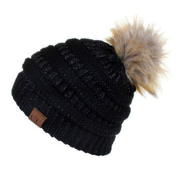 Hatsandscarf Cc Exclusives Unisex Solid Ribbed Beanie With Pom (hat 43) (black Metallic)
