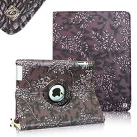 FINTIE (Embossed Flower Purple) 360 Degree Stylish Rotating Magnetic Case Smart Cover With Swivel Stand For Apple iPad 4th Generation Retina Display / the new iPad 3 / iPad 2 (Wake/sleep Function)