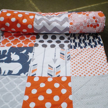 Woodland Baby quilt patchwork crib quilt,baby boy or girl bedding,rustic,grey,orange,fox,bear,deer,arrows,chevron,toddler,Woodland Party