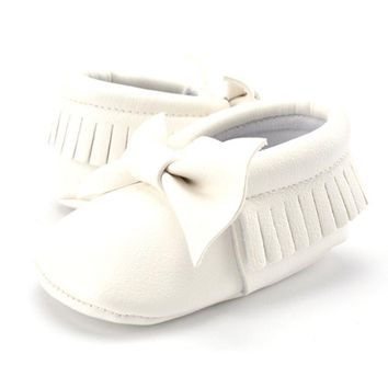 Newborn Baby Casual PU Leather Tassels Bowknot Indoor 0-12 Months Toddler Shoes Infant Sole Shoes Soft Bottom Non-slip Shoes