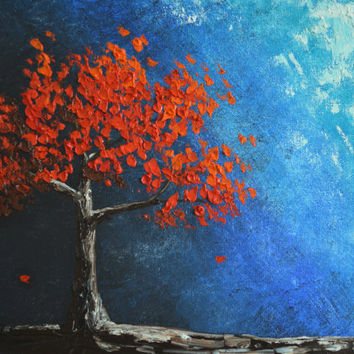Light from Darkness, Red Tree painting, Original Oil Painting, turquoise, blue, tree of life
