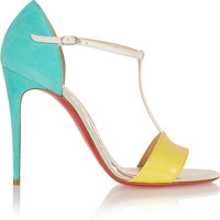 Christian Louboutin | True Blue 100 suede, leather and patent-leather T-bar sandals | NET-A-PORTER.COM