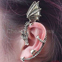 Punk Metal Vintage Style Dragon Bite Ear Cuff Wrap Clip Earring Bronze LS S1