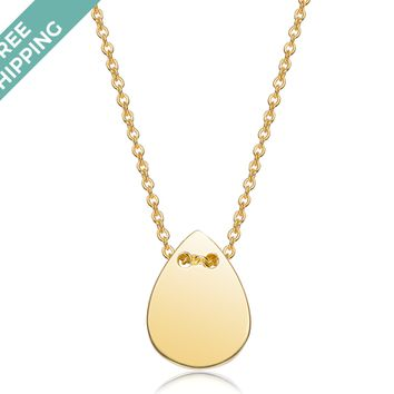 kiz&Co Gold Plated Sterling Silver Teardrop Necklace