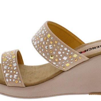 SANDY BEIGE STUDDED OPEN TOE WEDGE