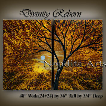 Acrylic Landscape Painting Abstract Tree Art Sunset Modern Wall Art Decor Large Modern Painting Original Artwork Decor by Nandita