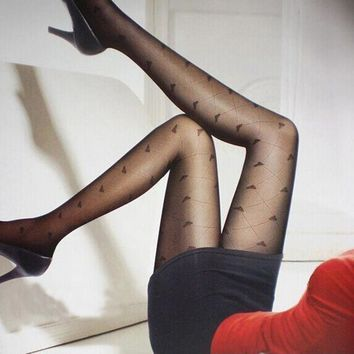 New Sexy Girl Ladies Fishnet Dots Heart Bowknot Pantyhose Stockings Tights Black