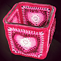 Small Heart Votive Candle/Candy Dish/Catchall Container with glass insert and crochet decoration from Heritage Heartcraft