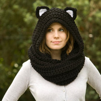 Cat Ear Scoodie, Black Cat Scarf with Hood, Crochet Black and White Animal Halloween Costume