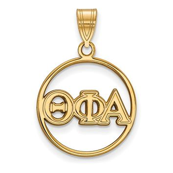 14K Plated Silver Theta Phi Alpha Medium Circle Pendant