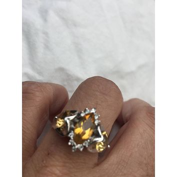 Vintage Gothic Golden Citrine Golden 925 Sterling Silver Ring