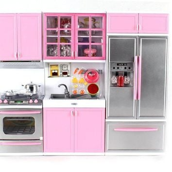 "Modern Kitchen Battery Operated Toy Kitchen Playset, Perfect for 11.5"" Tall Doll"