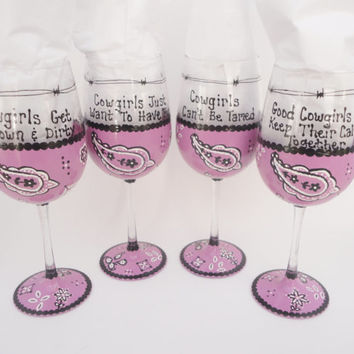Pink, Bandanna, Wine Glasses, Cowgirls, Painted Wine Glasses, Western, Gifts For Women, Funny Sayings, Western Decor, Hand Painted Glasses