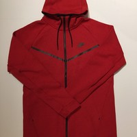 KUYOU Nike Tech Fleece Hoodie Red 805144-654