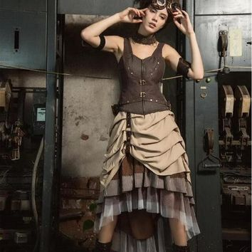Vintage Victoian Bustle Steampunk Brown Skirt Asymmetrical High Low Skirt  SP169