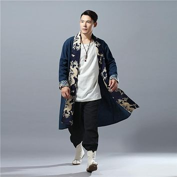 LZJN Spring Autumn Mens Trench Coat Hit Color Dragon Casual Capes Flax Cardigan Windbreaker Long Coat Tranchee Manteau Hommes