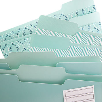 See Jane Work File Folders Letter Size 13 Cut Tabs Blue Print Pack Of 6 by Office Depot