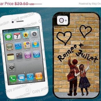 SALE Couple iPhone 4/4S 5 tough case - Love iPhone 4/5 hard case - Wedding, Name, Personalized 2 piece rubber lining case