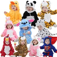winter Spring Autumn Baby Clothes Flannel Baby Boy Clothes Cartoon Animal Jumpsuit Baby Girl Rompers Baby Clothing hello kitty