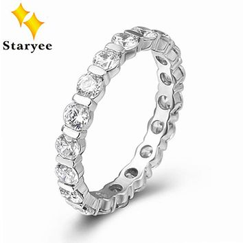 Certified Pure 18K White Gold Natural Diamond Wedding Band Rings For Women Engagement 0.6CT VS H AU750 Stamped Free Engraving