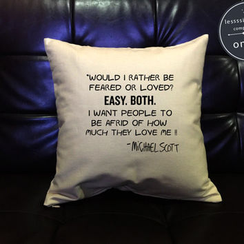 """SALE !! The Office Pillow cover """"Feared or Loved"""", Michael Scott  Quote Pillow Cover, The Office TV Show cotton canvas pillow cover"""