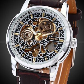 Skeleton Automatic watch, Leather Strap, Antique, Steampunk, Casual, Unique
