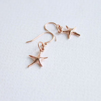 Sterling Silver Starfish VERMEIL Rose gold Earrings, Everyday Jewelry with free gift box, romantic, love, tiny