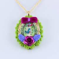 Bright and Merry Bluebird in a Cage Necklace by KitschSlapped