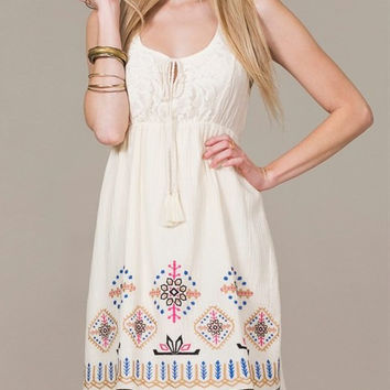 Eliza Bella for Flying Tomato Cream Boho Flower Child Hippie Dress SML