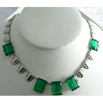 Art Deco Step Glass Bold Emerald Glass Necklace