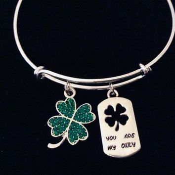 You Are My Only Crystal Green Shamrock Four Leaf Clover Adjustable Bracelet Expandable Bangle Wife Gift Girlfriend Gift Irish Saint Patrick