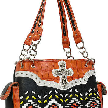 Aztec Cross Leather Designer Fashion Bling Western Stitch Rhinestone Stud Trendy Purse Handbag Orange Black White Yellow
