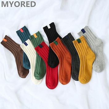 MYORED Solid Colors Women's Fashion Cotton Socks Colorful Knitted striped crew ankle sock for girls lady female woman