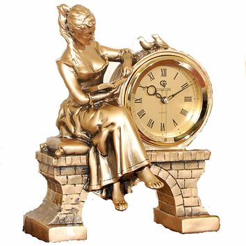 Clock reading beauty statue clock